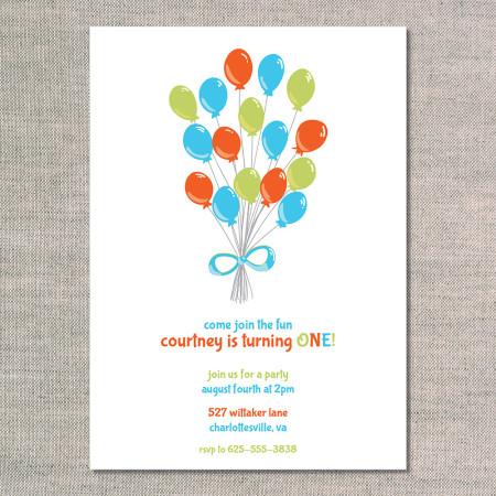 kid's birthday invitation: balloon bunch - fire - front