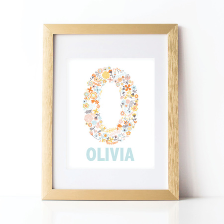 alphabet wall prints: personalized dainty flowers - ocean
