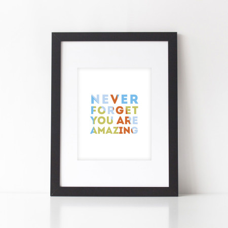 nursery wall prints: never forget - kiwi