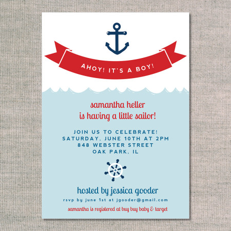 baby shower invitations: ahoy it's a boy - front