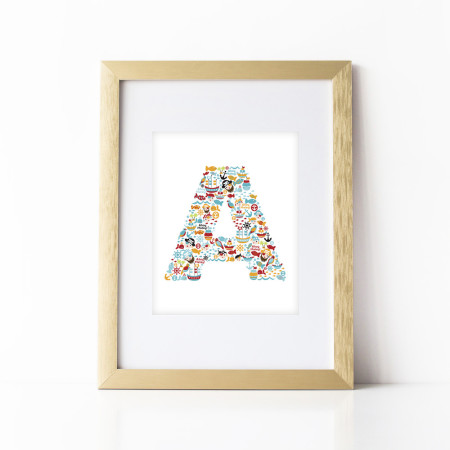 nursery alphabet art: pirate letters - A