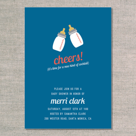 baby shower invitations: cheers - front