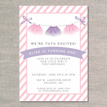 kid's birthday invitations: tutu excited - front