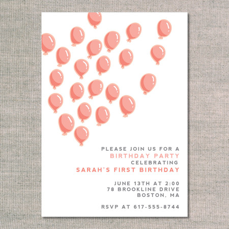 kid birthday invitations: up up and away - tangerine - front