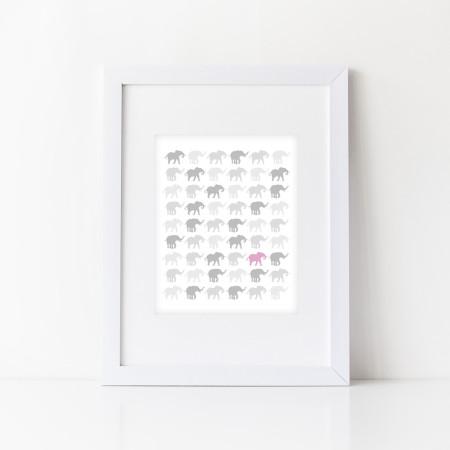nursery wall prints: rows of elephants - cotton candy