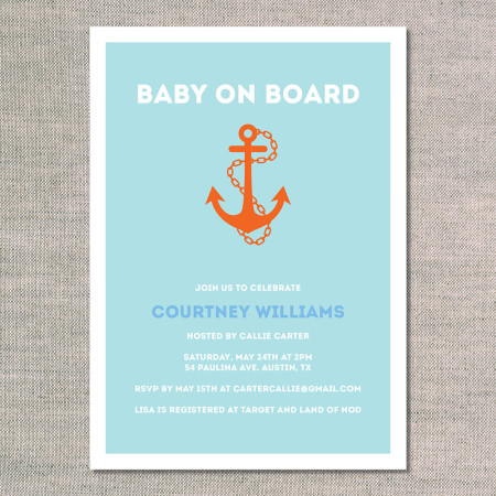 baby shower invitations: baby on board - front