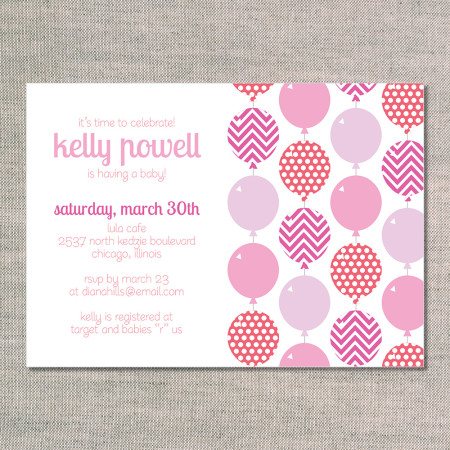 baby shower invitations: bright balloons - flamingo - front