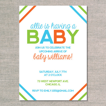 baby shower invitations: cornered - fire - front