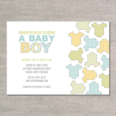 baby shower invitations: onesies for boys - front