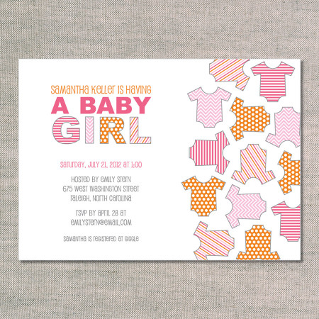 baby shower invitations: onesies for girls - front