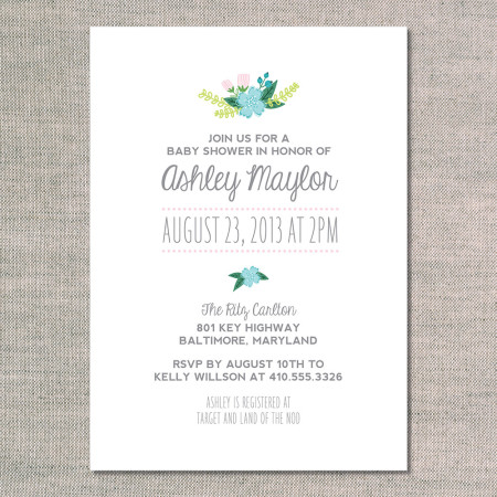 baby shower invitations: shower in flowers - front