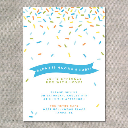 baby shower invitations: sprinkle shower - front