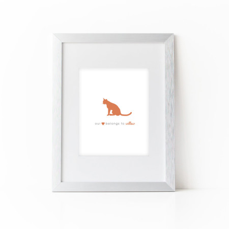 wall print: the cat stole our heart - fire