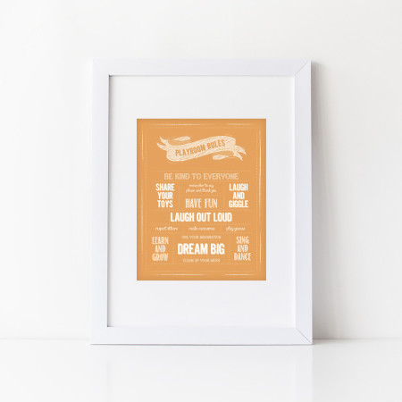 wall print: rules for the playroom - tangerine