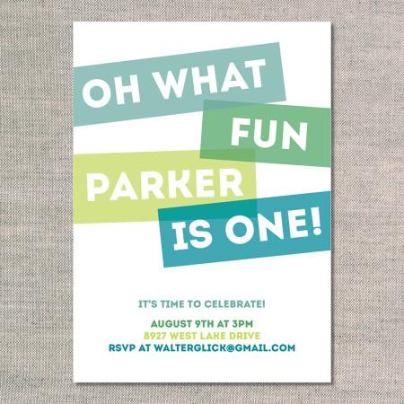 kid's birthday invitation: oh what fun - kiwi - front