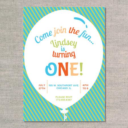 kid's birthday invitation: big balloon - kiwi - front