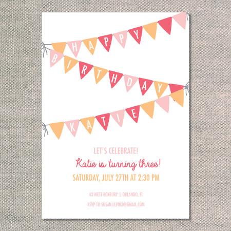 kid's birthday invitations: birthday garland - flamingo - front