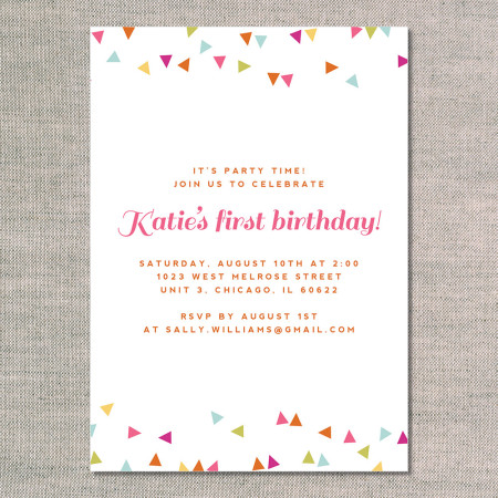 kid's birthday invitations: celebrate with confetti - flamingo - back