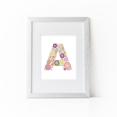 nursery alphabet art: flower power letters - a