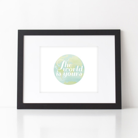 home & nursery wall art: the world is yours
