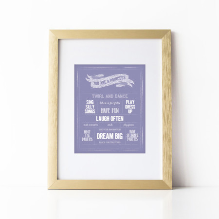 wall prints: you are a princess - violet