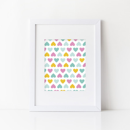 nursery prints & graphics: grunge hearts - flamingo