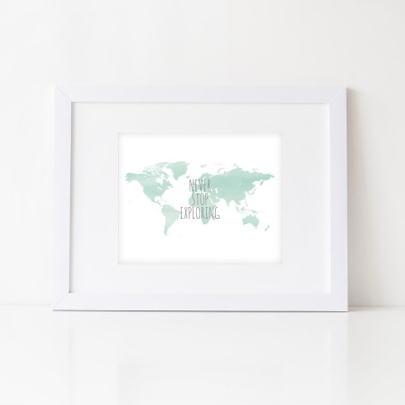 nursery and home wall art: never stop exploring - seafoam