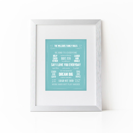 wall print: rules for the family - teal