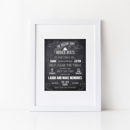wall prints: rules for dinner - black