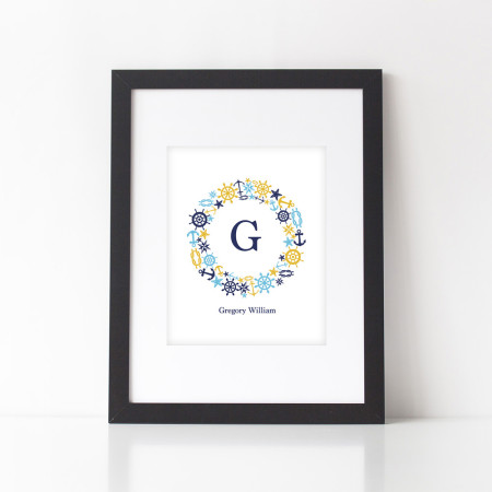 nursery alphabet art: sailboat monogram - indigo