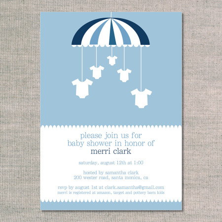 baby shower invitations: onesies on a mobile - ocean - front
