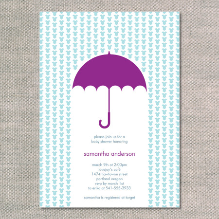 baby shower invitations: raining onesies - plum - front