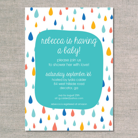 baby shower invitations: rainshower - teal - front