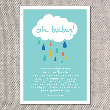 baby shower invitations: big fat raindrops - teal - front