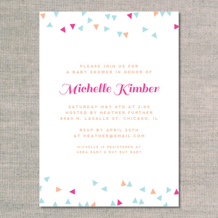 baby shower invitations: confetti fun - flamingo - front