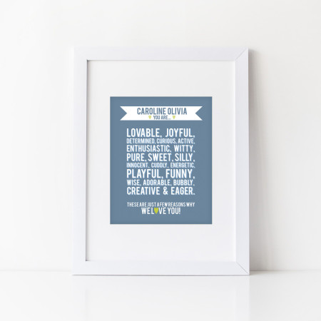 personalized nursery wall print: you are - slate