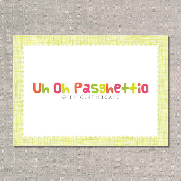 nursery art and baby shower invitations: uh oh pasghettio: gift certificate