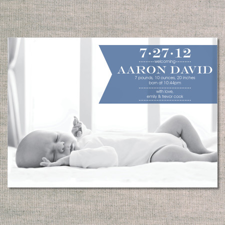 birth announcements: the aaron - slate - front