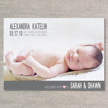 birth announcements: the alexandra - pink lemonade - front