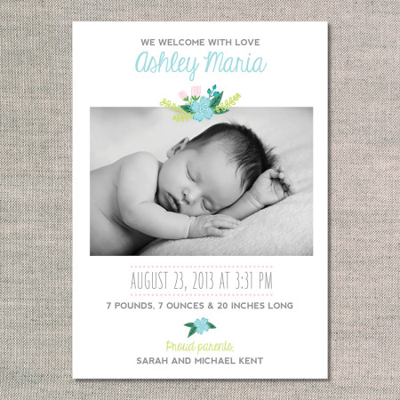 birth announcements: the ashley - front