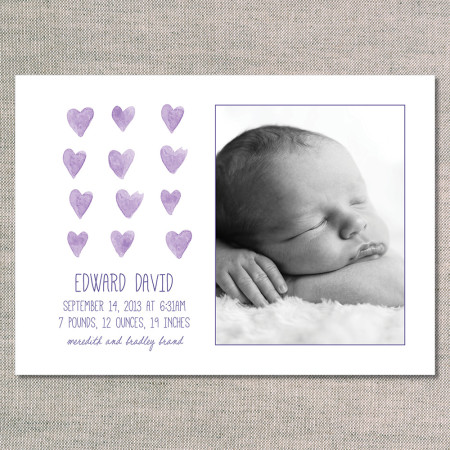 birth announcements: the edward - front - violet watercolor