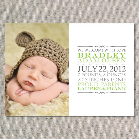 birth announcements: the bradley - front - green