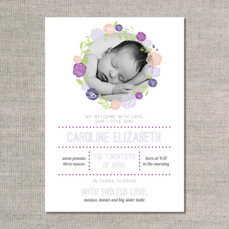 birth announcements: the caroline - front - violet