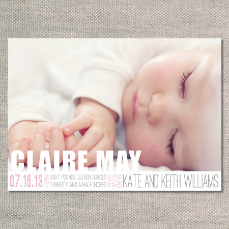 birth announcements: the clare - front - flamingo