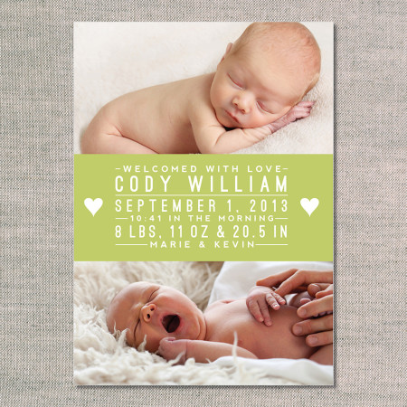 birth announcements: the cody - front - kiwi