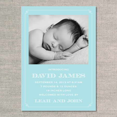 birth announcements: the david - front - blue