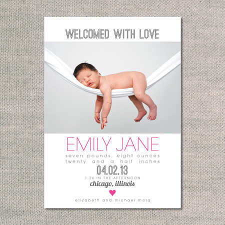 birth announcements: the emily - front - magenta