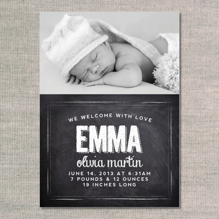 birth announcements: the emma - front