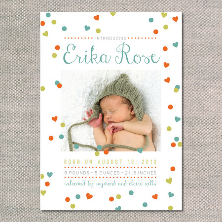 birth announcements: the erika - front - teal