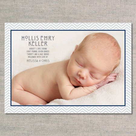 birth announcements: the hollis - front - navy